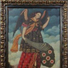 Arte: ARCÁNGEL SAN GABRIEL. ESCUELA CUZQUEÑA. ÓLEO SOBRE LIENZO ENMARCADO 93X73 CM. Lote 206165125