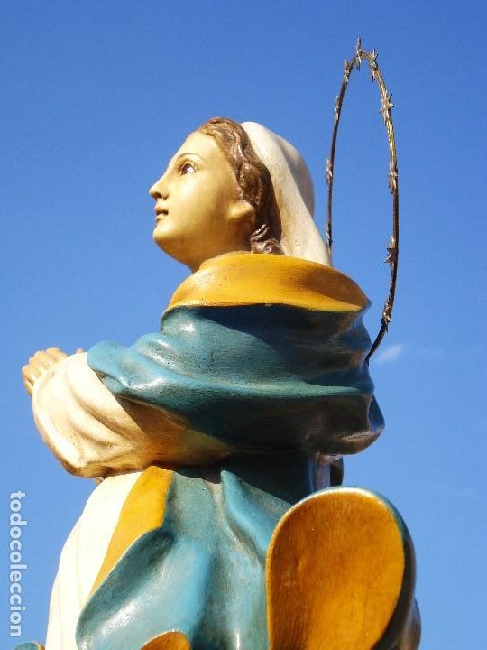 Arte: EL ARTE CRISTIANO INMACULADA CONCEPCIÓN BARROCA PASTA DE MADERA OLOT - Foto 5 - 206193616