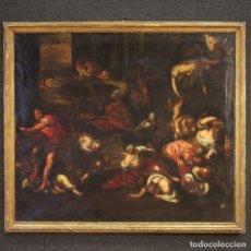 Arte: PINTURA RELIGIOSA ITALIANA ANTIGUA LA MASACRE DE LOS INOCENTES DEL SIGLO XVIII. Lote 206302775