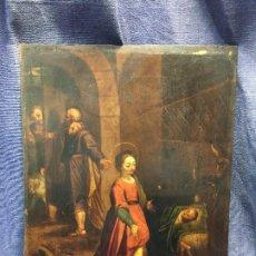 Arte: NACIMIENTO SAGRADA FAMILIA OLEO COBRE ESCUELA HISPANO FLAMENCA SXVIII NIÑO JESUS VIRGEN JOSE 35,5X26. Lote 206446636