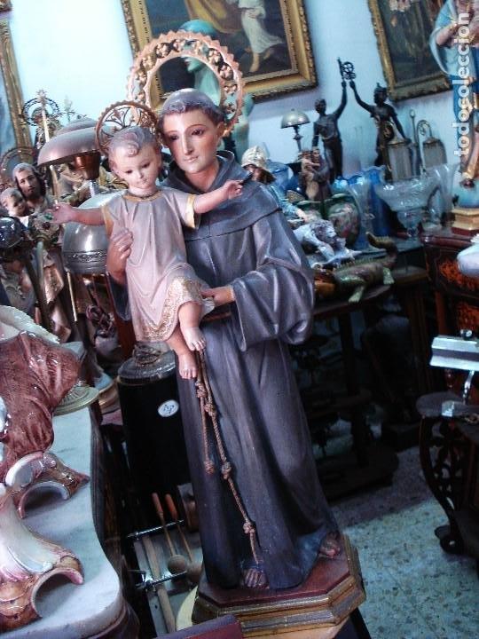 EXCELENTE SAN ANTONIO DE PADUA CON NIÑO TALLA DE MADERA POLICROMADA (Arte - Arte Religioso - Escultura)