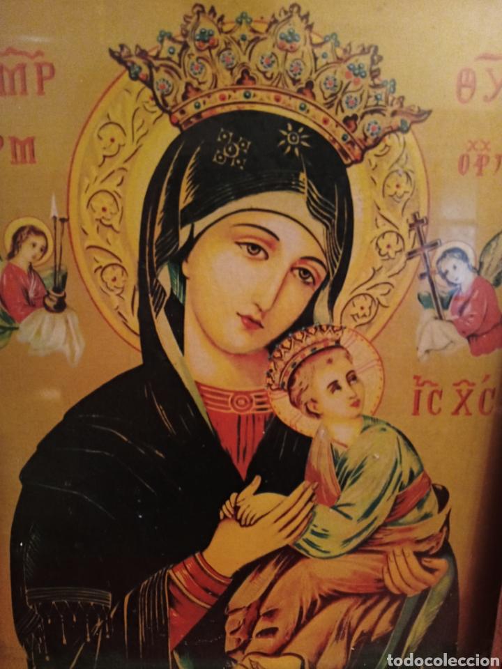 VIRGEN DEL PERPETUO SOCORRO - AÑOS 1940 - MARCO DE EPOCA - BELLISIMA (Arte - Arte Religioso - Iconos)