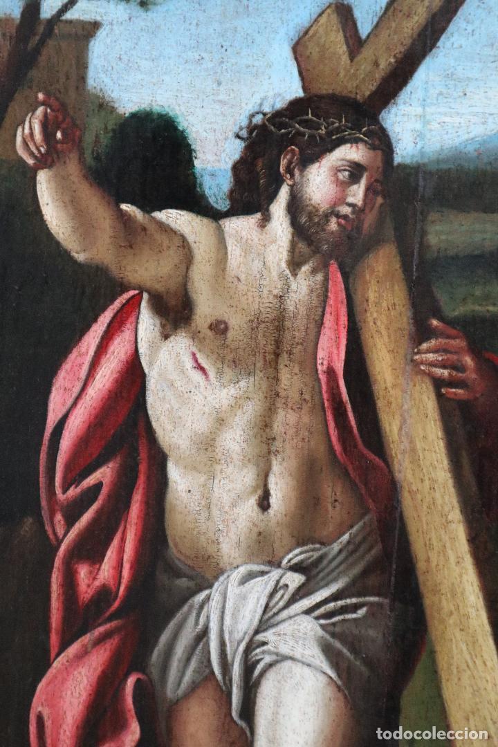 DOMINE, QUO VADIS? ÓLEO SOBRE TABLA DEL SIGLO XVIII SEGÚN ANNIBALE CARRACCI. MIDE 57 X 42 CM. (Arte - Arte Religioso - Pintura Religiosa - Oleo)