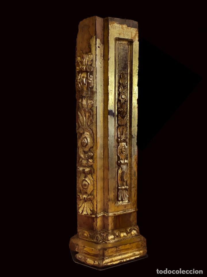 ESPECTACULAR PIEZA DE RETABLO BARROCO AL ORO FINO SOBRE PEANA DE HIERRO.SIGLO XVIII (Arte - Arte Religioso - Retablos)