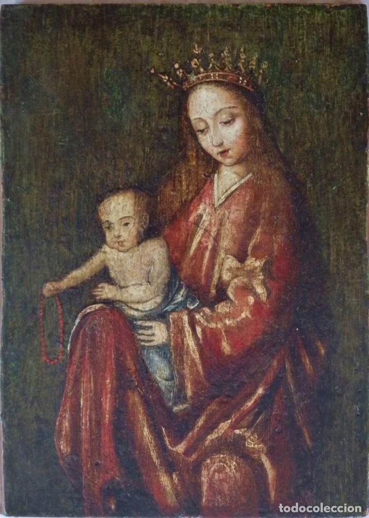 Arte: Virgen con Niño. Escuela Flamenca. Óleo sobre tabla del siglo XVI. - Foto 3 - 206832823