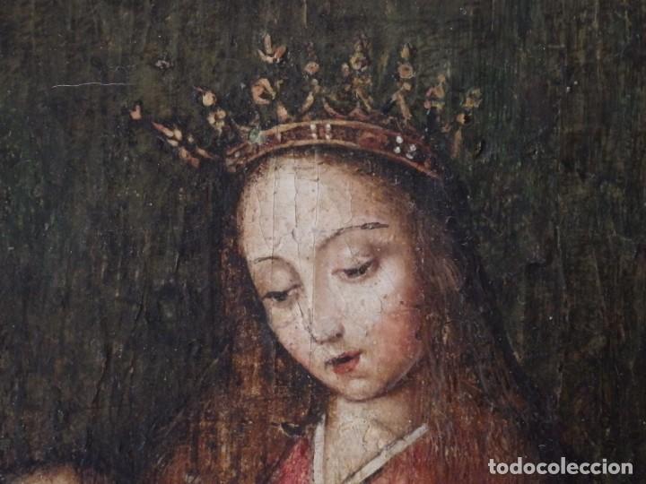 Arte: Virgen con Niño. Escuela Flamenca. Óleo sobre tabla del siglo XVI. - Foto 6 - 206832823