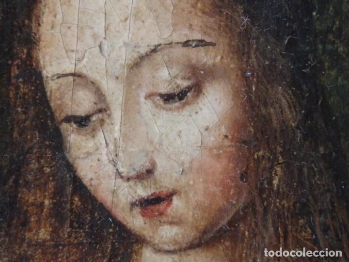 Arte: Virgen con Niño. Escuela Flamenca. Óleo sobre tabla del siglo XVI. - Foto 8 - 206832823