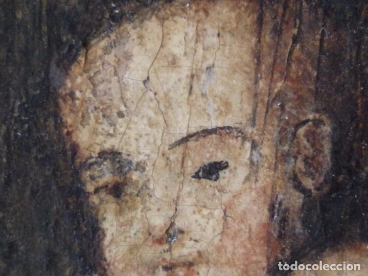 Arte: Virgen con Niño. Escuela Flamenca. Óleo sobre tabla del siglo XVI. - Foto 12 - 206832823