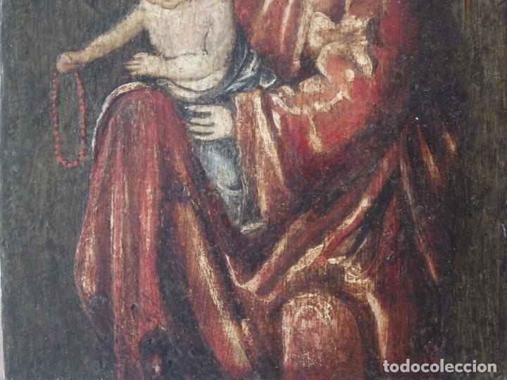 Arte: Virgen con Niño. Escuela Flamenca. Óleo sobre tabla del siglo XVI. - Foto 13 - 206832823