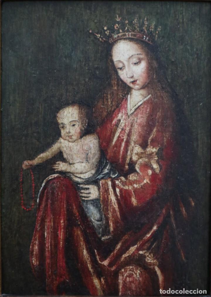 Arte: Virgen con Niño. Escuela Flamenca. Óleo sobre tabla del siglo XVI. - Foto 14 - 206832823