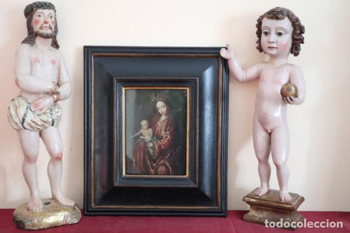 Arte: Virgen con Niño. Escuela Flamenca. Óleo sobre tabla del siglo XVI. - Foto 21 - 206832823