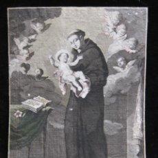 Arte: GRABADO ANTIGUO, S. ANTONIUS DE PADUA DE PELLEGRINO DAL COLLE, S. XVIII. Lote 206857812