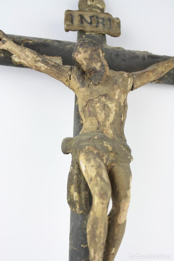 Arte: Cristo crucificado de madera. Ver fotos. 62x32cm - Foto 3 - 206873011