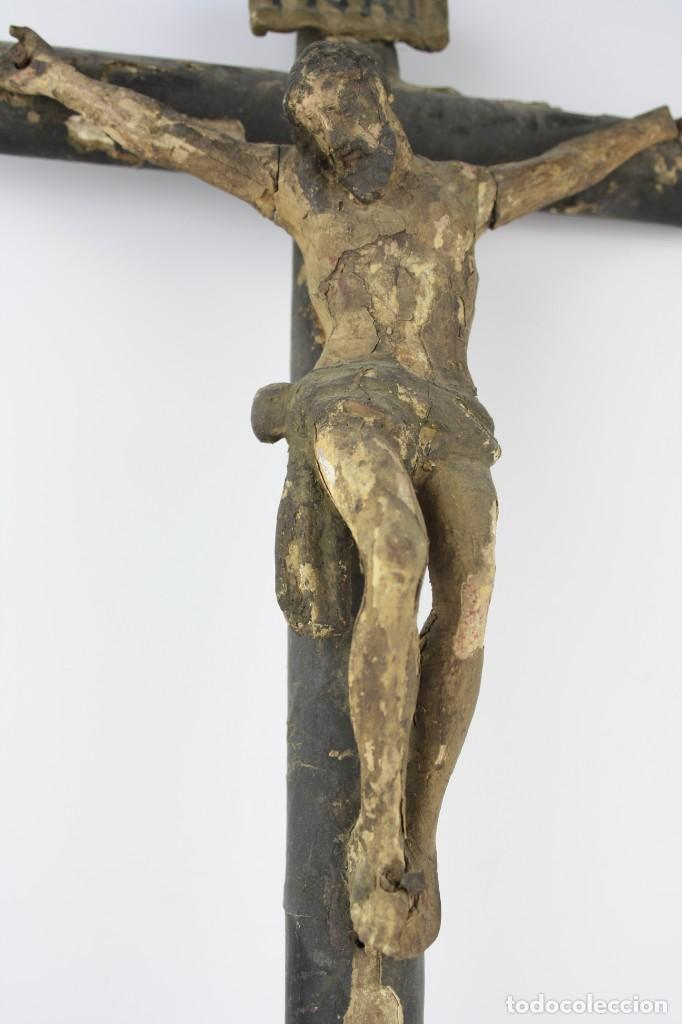 Arte: Cristo crucificado de madera. Ver fotos. 62x32cm - Foto 5 - 206873011