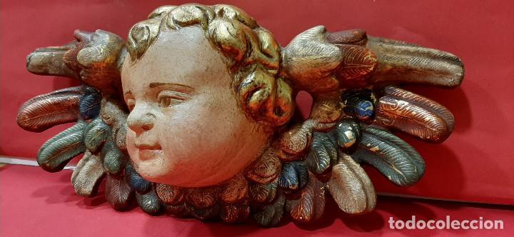 Arte: Cabeza de ángel querubín, madera tallada, dorada, policromada y estofada. Siglo XVII. - Foto 2 - 206986825