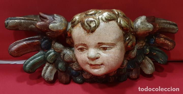 Arte: Cabeza de ángel querubín, madera tallada, dorada, policromada y estofada. Siglo XVII. - Foto 3 - 206986825