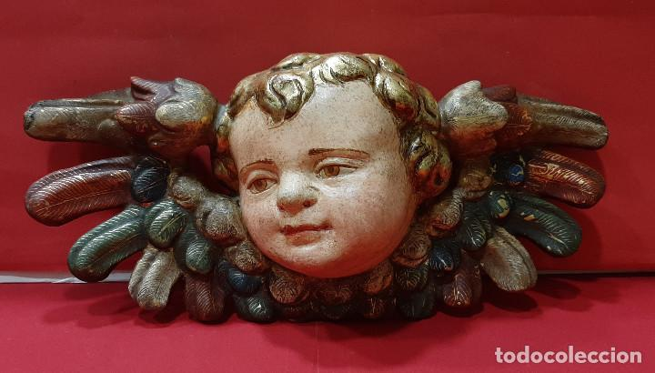 Arte: Cabeza de ángel querubín, madera tallada, dorada, policromada y estofada. Siglo XVII. - Foto 4 - 206986825