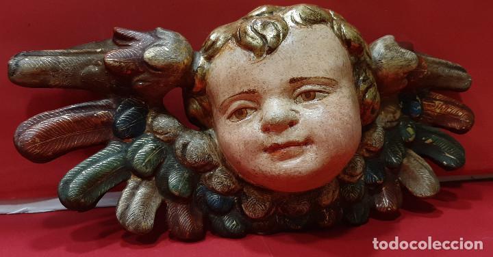 Arte: Cabeza de ángel querubín, madera tallada, dorada, policromada y estofada. Siglo XVII. - Foto 6 - 206986825