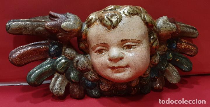 Arte: Cabeza de ángel querubín, madera tallada, dorada, policromada y estofada. Siglo XVII. - Foto 7 - 206986825