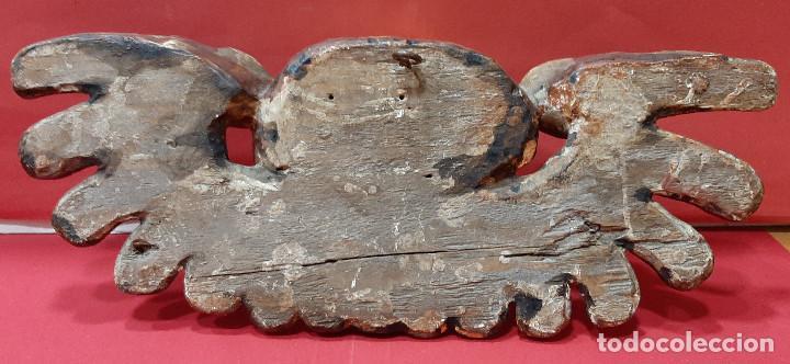 Arte: Cabeza de ángel querubín, madera tallada, dorada, policromada y estofada. Siglo XVII. - Foto 11 - 206986825