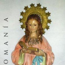 Arte: ANTIGUA FIGURA DE NIÑA VIRGEN LEYENDO, FABRICADA EN PASTA DE MADERA POR ARTE OLOTENSE - OLOT. Lote 207083536