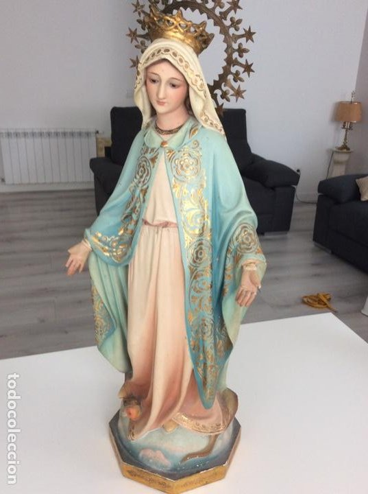 Arte: Imagen de la Virgen Milagrosa siglo XIX o anterior. Bellísimas facciones. Ojos de cristal - Foto 9 - 206811777