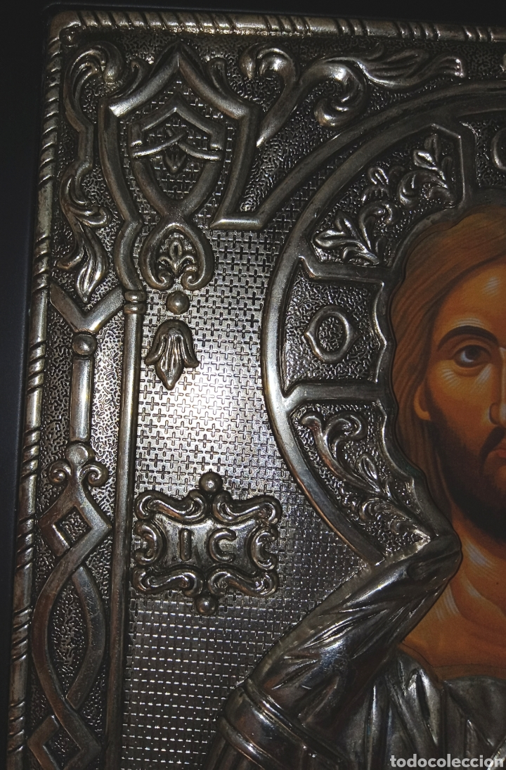 Arte: ICONO ORTODOXO RUSO - CRISTO - ALTO RELIEVE EN METAL PLATEADO SOBRE MADERA - Foto 3 - 207253067