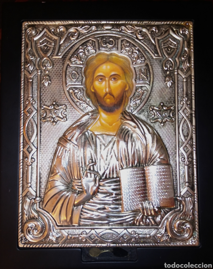 ICONO ORTODOXO RUSO - CRISTO - ALTO RELIEVE EN METAL PLATEADO SOBRE MADERA (Arte - Arte Religioso - Iconos)