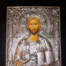 Arte: ICONO ORTODOXO RUSO - CRISTO - ALTO RELIEVE EN METAL PLATEADO SOBRE MADERA. Lote 207253067