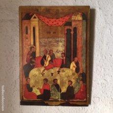 Arte: REPRODUCCIÓN DECORATIVA DE UN RETABLO RELIGIOSO EN TABLERO DE MADERA, PRINCIPIOS SIGLO XX. Lote 207361302