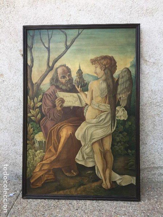 ÓLEO TABLA SAN PEDRO RECIBIENDO INSPIRACIÓN DEL ARCÁNGEL CONSTRUCCIÓN BASÍLICA CRUZ LATINA 91X61 CM (Arte - Arte Religioso - Pintura Religiosa - Oleo)
