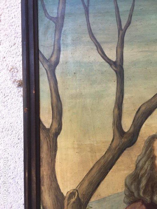 Arte: óleo tabla san pedro recibiendo inspiración del arcángel construcción basílica cruz latina 91x61 cm - Foto 2 - 207520321
