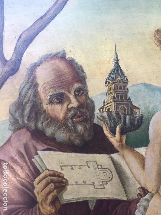Arte: óleo tabla san pedro recibiendo inspiración del arcángel construcción basílica cruz latina 91x61 cm - Foto 3 - 207520321