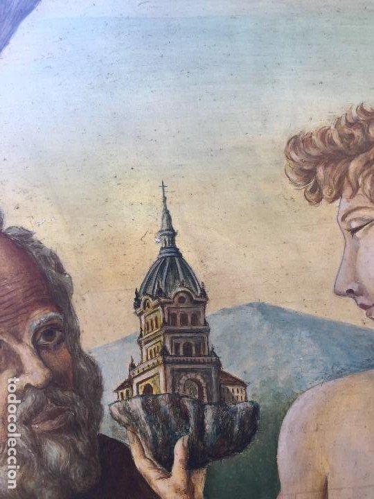 Arte: óleo tabla san pedro recibiendo inspiración del arcángel construcción basílica cruz latina 91x61 cm - Foto 4 - 207520321