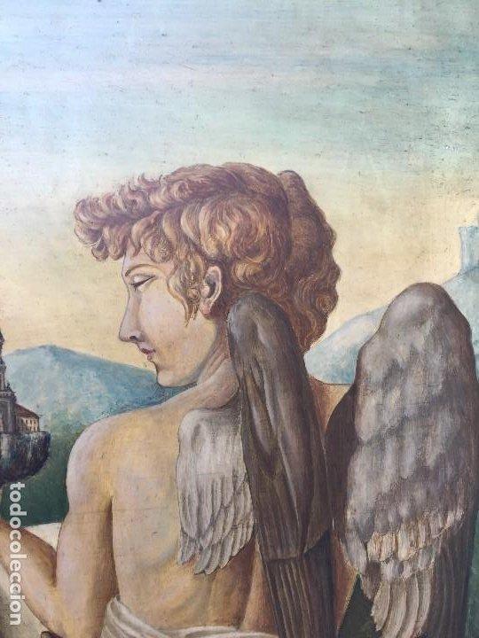 Arte: óleo tabla san pedro recibiendo inspiración del arcángel construcción basílica cruz latina 91x61 cm - Foto 5 - 207520321