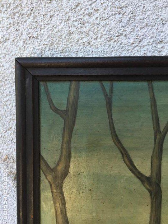 Arte: óleo tabla san pedro recibiendo inspiración del arcángel construcción basílica cruz latina 91x61 cm - Foto 6 - 207520321