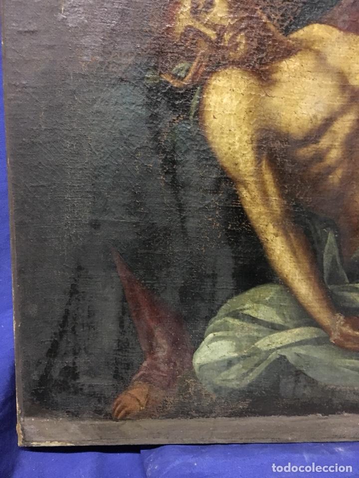 Arte: (MT) ÓLEO RELIGIOSO VIRGEN DE LA DOLOROSA S.XVIII, 76X91cm - Foto 9 - 207607791