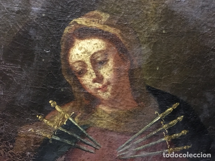 Arte: (MT) ÓLEO RELIGIOSO VIRGEN DE LA DOLOROSA S.XVIII, 76X91cm - Foto 10 - 207607791
