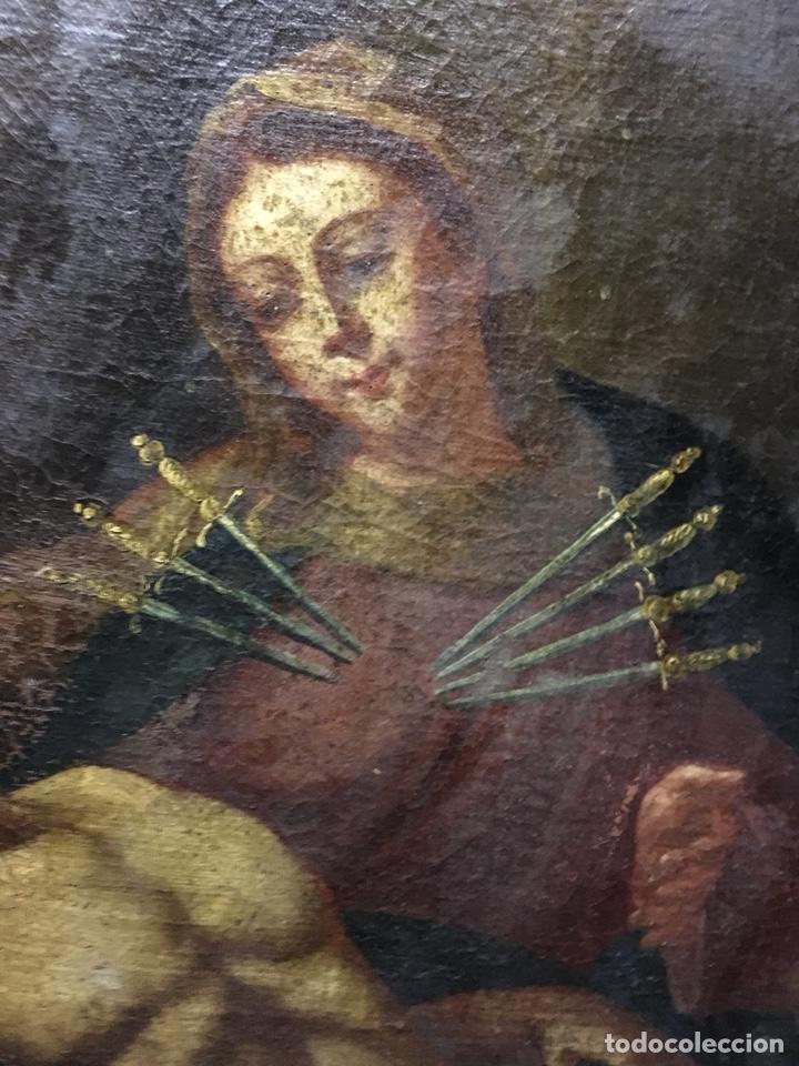 Arte: (MT) ÓLEO RELIGIOSO VIRGEN DE LA DOLOROSA S.XVIII, 76X91cm - Foto 11 - 207607791