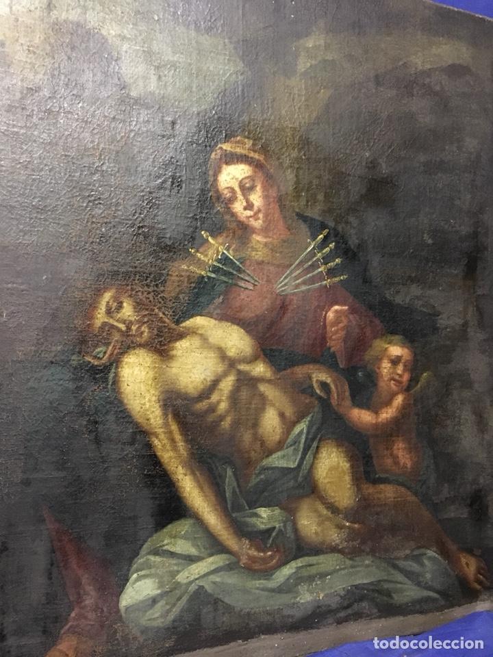 Arte: (MT) ÓLEO RELIGIOSO VIRGEN DE LA DOLOROSA S.XVIII, 76X91cm - Foto 14 - 207607791
