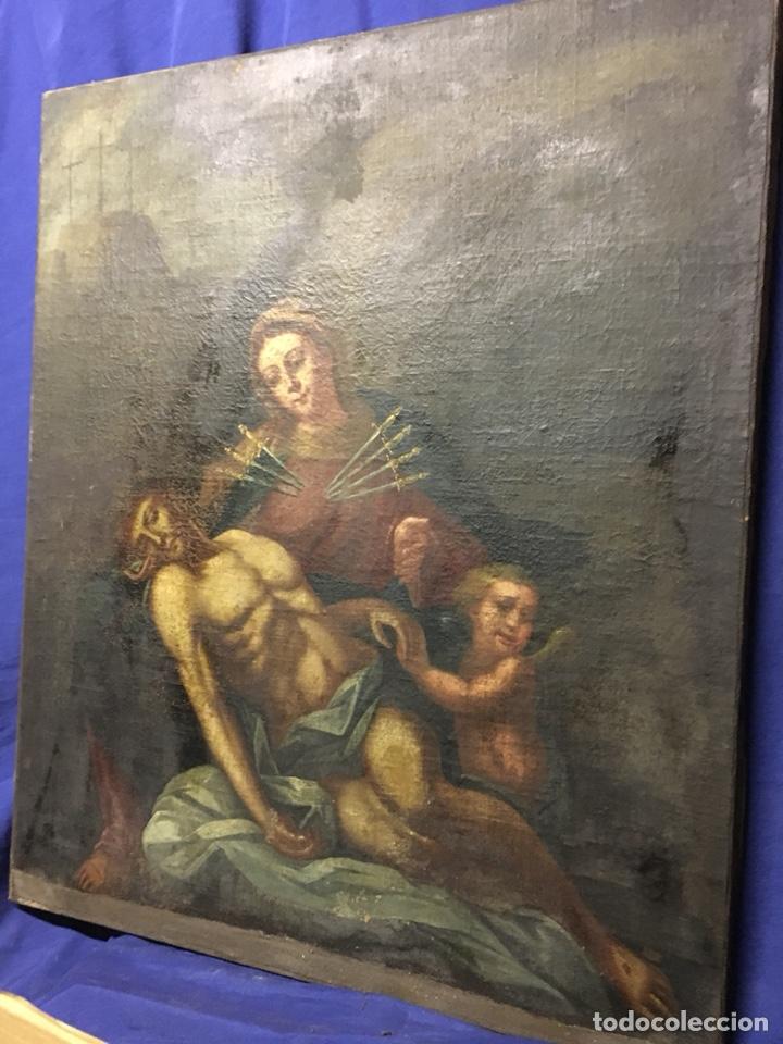 Arte: (MT) ÓLEO RELIGIOSO VIRGEN DE LA DOLOROSA S.XVIII, 76X91cm - Foto 15 - 207607791