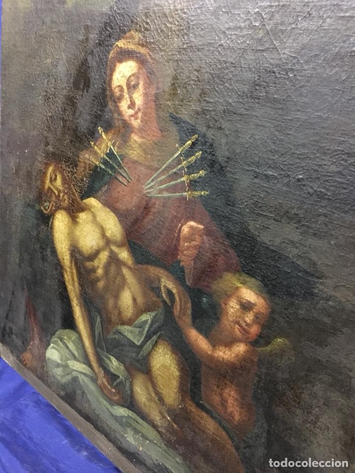 Arte: (MT) ÓLEO RELIGIOSO VIRGEN DE LA DOLOROSA S.XVIII, 76X91cm - Foto 16 - 207607791