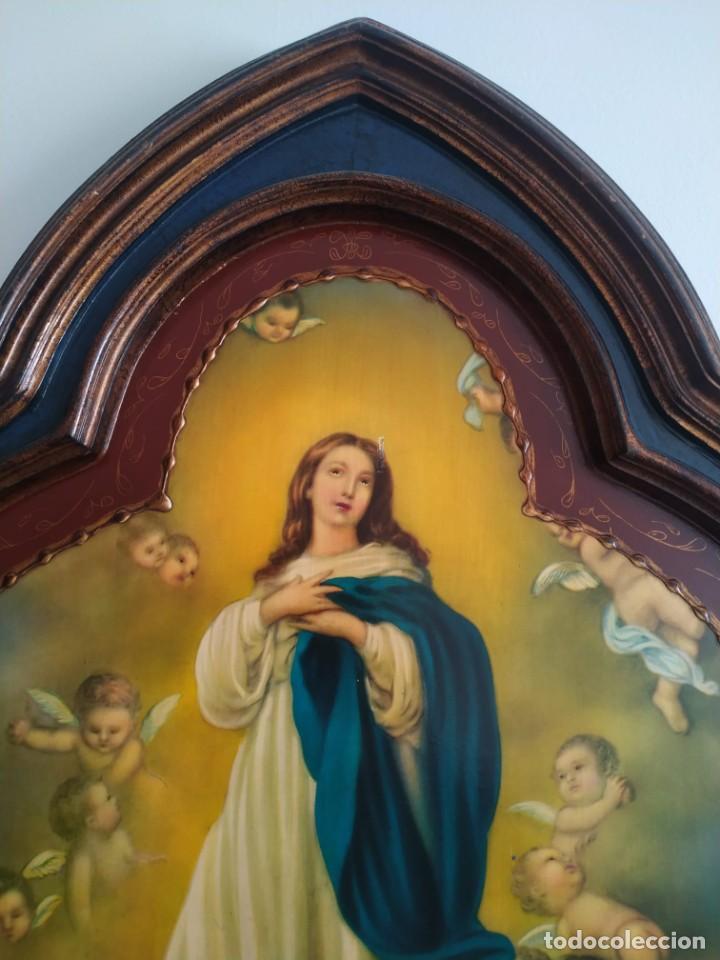 Arte: Pintura sobre tabla. Inmaculada Concepción con ángeles. Obra con forma de arco gótico trilobulado. - Foto 3 - 207857406