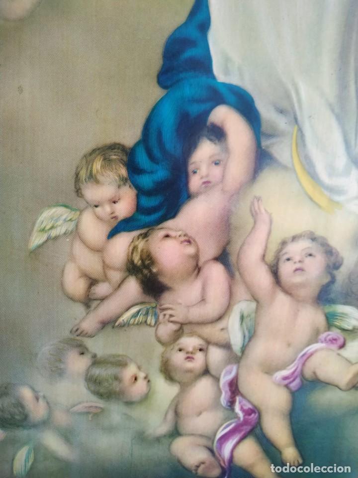Arte: Pintura sobre tabla. Inmaculada Concepción con ángeles. Obra con forma de arco gótico trilobulado. - Foto 7 - 207857406