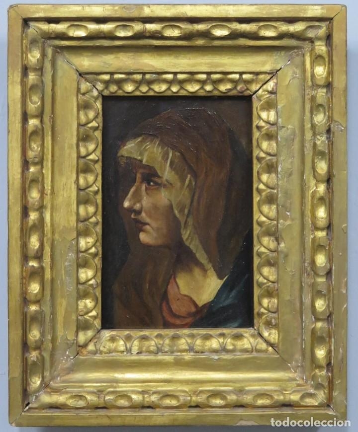 DOLOROSA. OLEO S/ TABLA. COPIA TIZIANA. SIGLO XIX (Arte - Arte Religioso - Pintura Religiosa - Oleo)