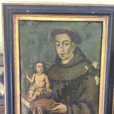 Art: ÓLEO LIENZO SAN ANTONIO CON NIÑO JESÚS ANTIGÜO SIGLO XVIII PINTURA POPULAR. SANTO. Lote 208396361