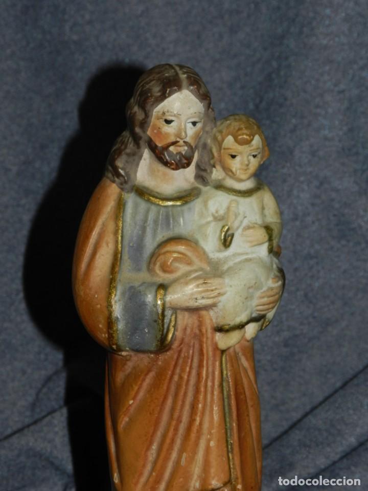 (M) ANTIGUA FIGURA SAN JOSE DE TERRACOTA POLICROMADA S. XIX - 23,5X7,5 CM. ORIGINAL DE LA EPOCA (Arte - Arte Religioso - Escultura)