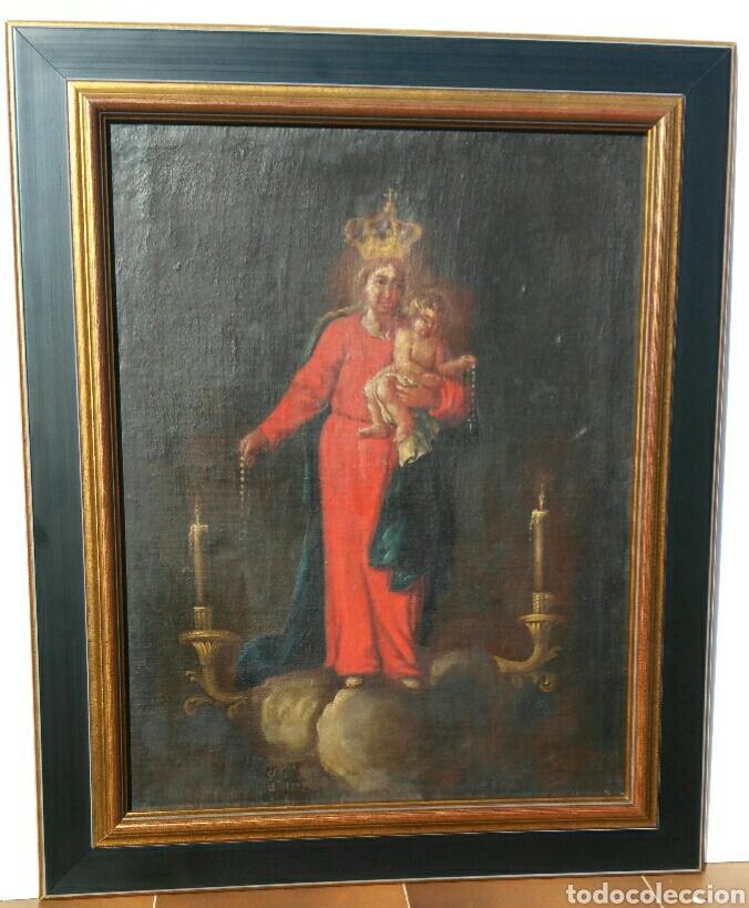 AUROROS. DOS PINTURAS ANTIGUAS VIRGEN DEL ROSARIO O DE LA AURORA Y ANIMAS BENDITAS (Arte - Arte Religioso - Pintura Religiosa - Oleo)