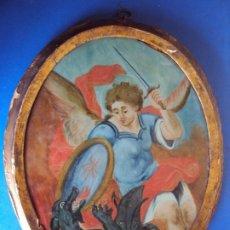 Arte: (ANT-200679)OLEO SOBRE CRISTAL DEL ARCANGEL SAN MIGUEL DERROTANDO AL DEMONIO - SIGLO XVIII. Lote 208988408