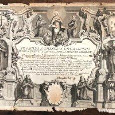 Arte: GRABADO RELIGIOSO MINISTERIO CAPUCHINOS. MADRID. 4 DE JUNIO DE 1764. Lote 209114752